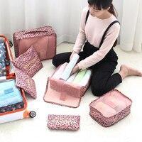 High Quality 6pcs Set Travel Luggage Packing Cube Organizer Bag Nylon Mesh Travel Pouch Storage Bag