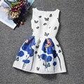 Elegante vestido de verano de las muchachas de flores de algodón impreso ropa para niños un line vestido para las muchachas sin mangas traje de la princesa ropa