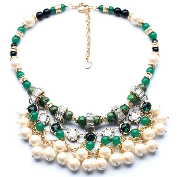 2014 colgantes de piedra natural de lujo de múltiples capas de la perla elegante noble señora collar calidad declaración choker collar para las mujeres