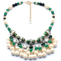 2014 Luxury Multi Layer Pearl Pendants Natural Stone Elegant Noble Lady Necklace Statement Quality Choker Necklace