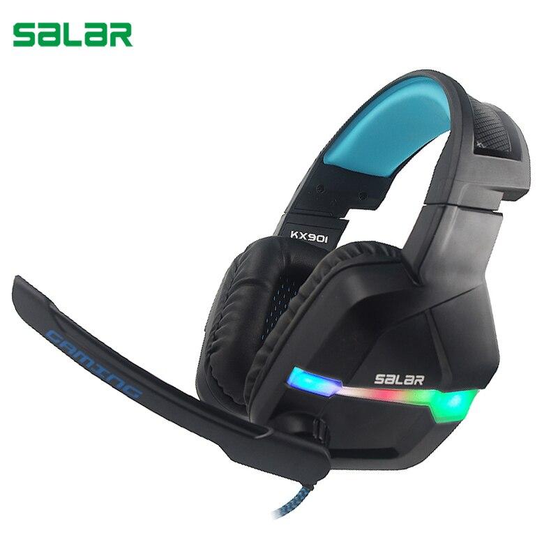 Salar KX901 Gaming Headset casque estéreo con cable Deep Bass Game Headphone con micrófono RGB luz LED para ordenador PC los jugadores