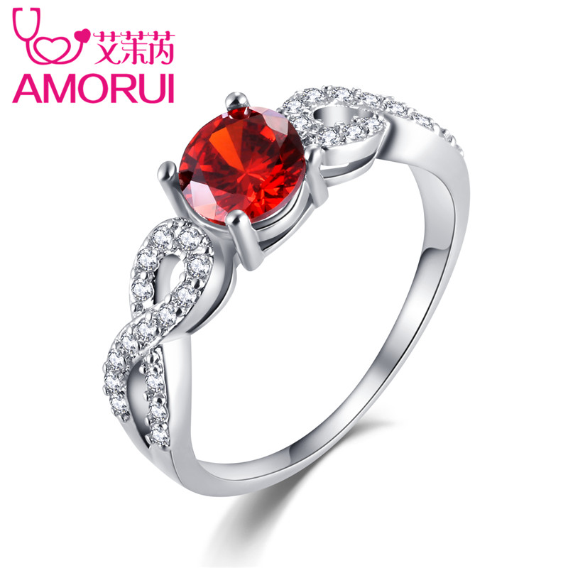 AMORUI AAA Zircon Engagement Ring for Women White Gold Color Lady Wedding Rings Red/Yellow Jewelry Gift women accessories
