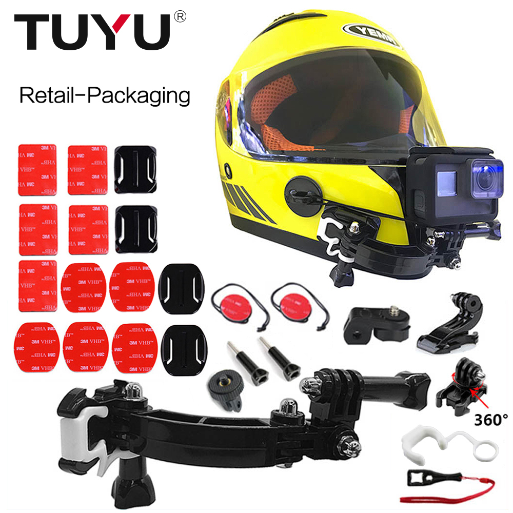 TUYU Helmet Camera Accessories for Go pro Motorcycle Helmet Bracket Bicycle Adjustable Buckle for GoPro Hero 5 6 7 EKEN H9 Yi