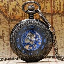 Design de boîtier en verre rétro motif noir avec cadran squelette bleu montre de poche mécanique avec cadeau de chaîne pour hommes femmes