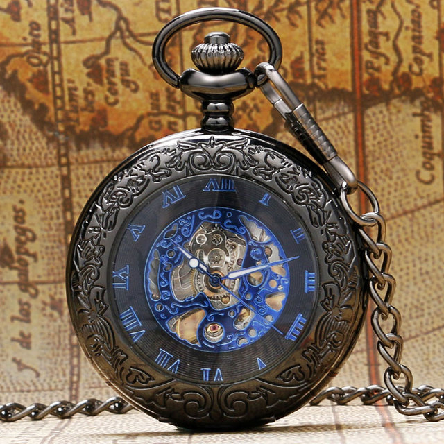 Retro Black Pattern Glass Case Design With Blue Skeleton Dial Mechanical Pocket Watch With Chain Gift To Men Women