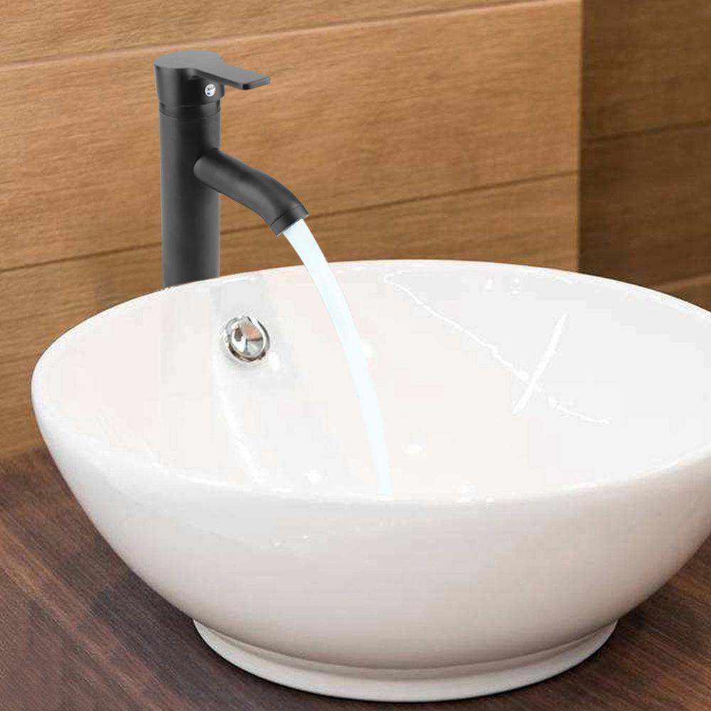Stainless Steel Bathroom Basin Faucet Black Hot Cold Water Mixer