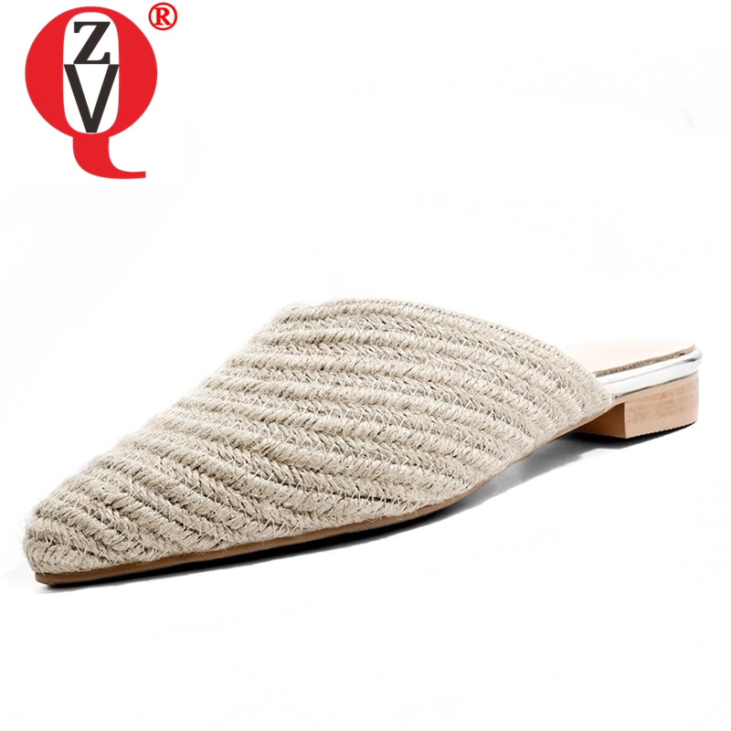 ZVQ shoes woman summer hot sale new concise casual low square heel woman slippers outside pointed