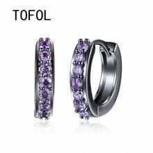 TOFOL Earrings Fashion Simple Inlaid Zircon Earrings Plated Gold Ear Clip Black Gun Plated  Men Women Jewelry Gift