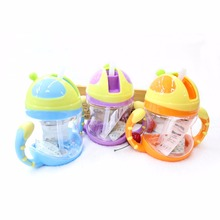 children cups baby leakproof lid handle portable straw cup baby learn to drink cup