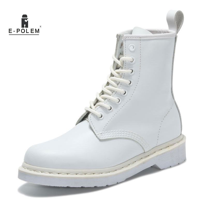 Genuine Leather Men Martin Boots Marten Shoes Couples Lovers Ankle Boot Shoes Designer White Mens Motorcycle Boots Unisex