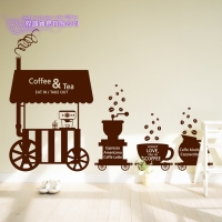 DCTAL Coffee Sticker Dining Car Decal Cafe Poster Vinyl Art Wall Decals Pegatina Quadro Parede Decor Mural Coffee Sticker