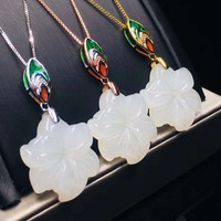 Natural White Jade Necklace Pendant Star Shape Fine Jewelry 925 Sterling Silver Jewelry