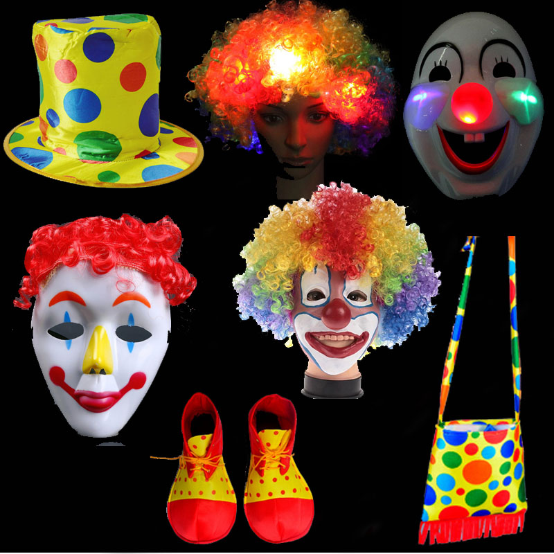 Funny Clown Hat Hair Paryk Mask Sko Veske Circus Clown Performance Wear Cosplay Props Party Dress Christmas Halloween