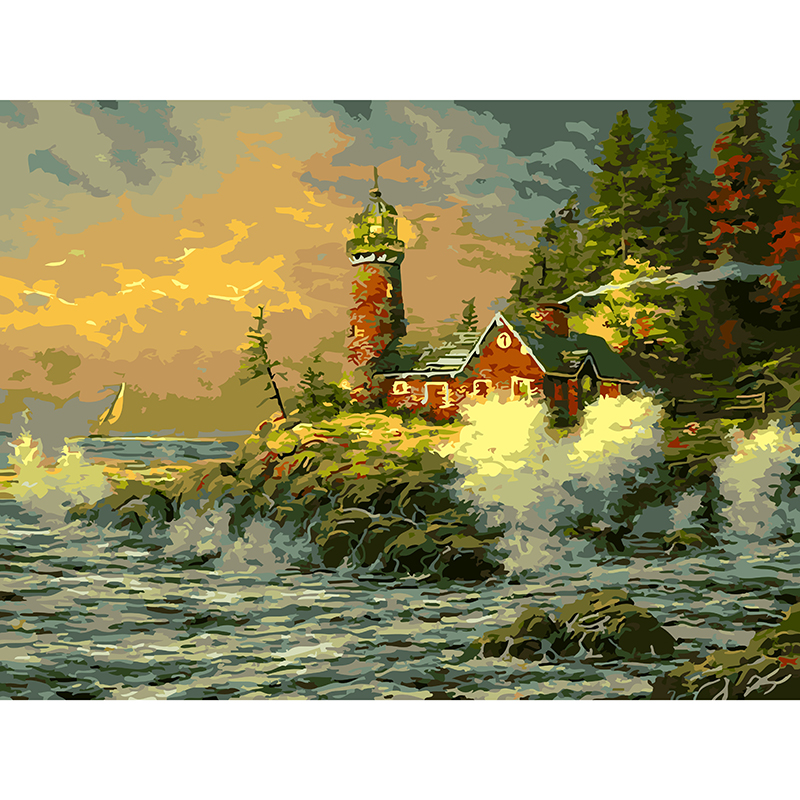 Hot Sale Seascape Oil Painting Lighthouse DIY Digital Oil Painting Coloring By Number On Canvas Home Wall Decoration