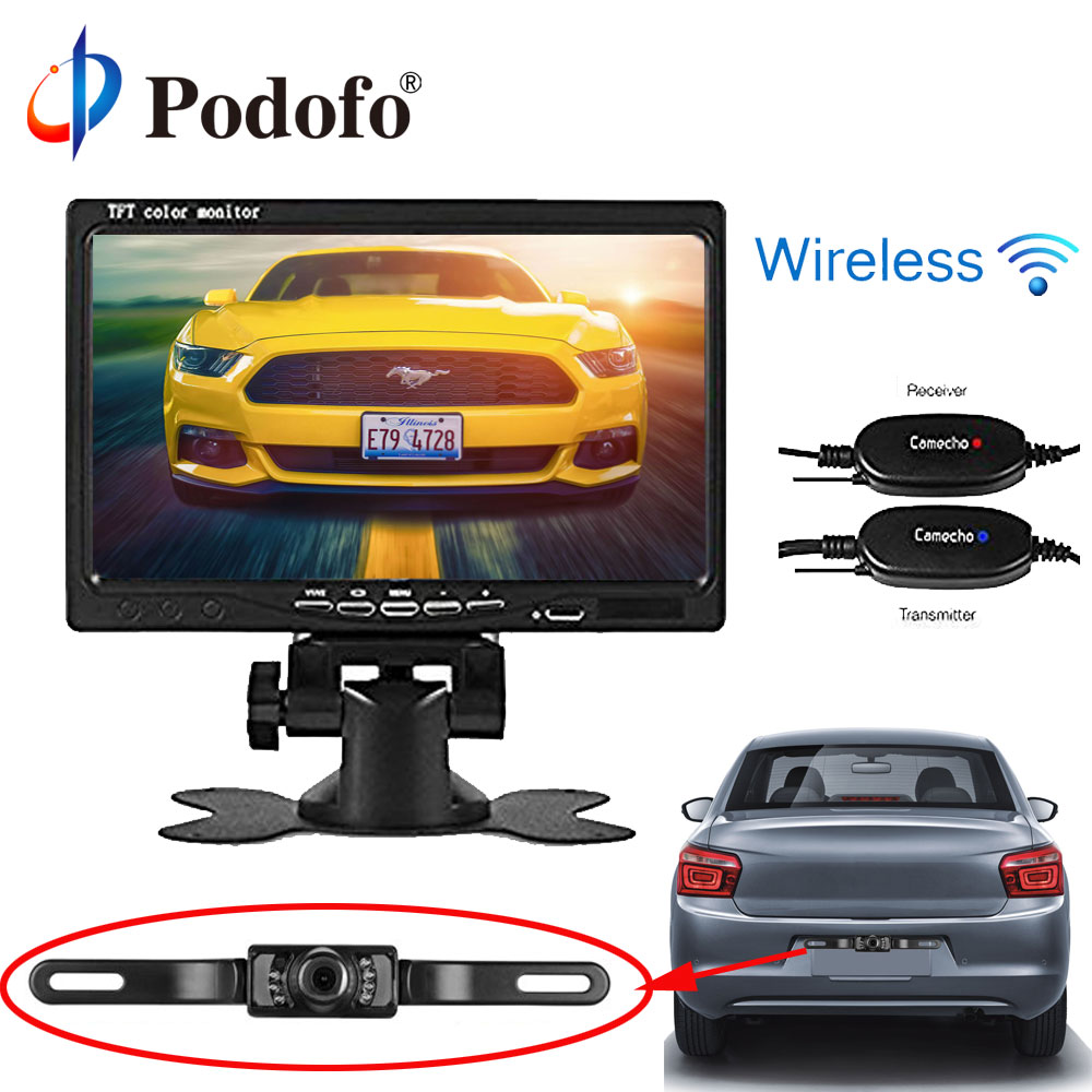 Podofo 7'' TFT LCD Car Monitor 2 Channels Video Input Wireless Rear View Camera (Backup guide Lines) Parking System for Vehicle car rear view system 7inch tft colour quad 4ch video input car monitor for reverseing cctv car camera monitor