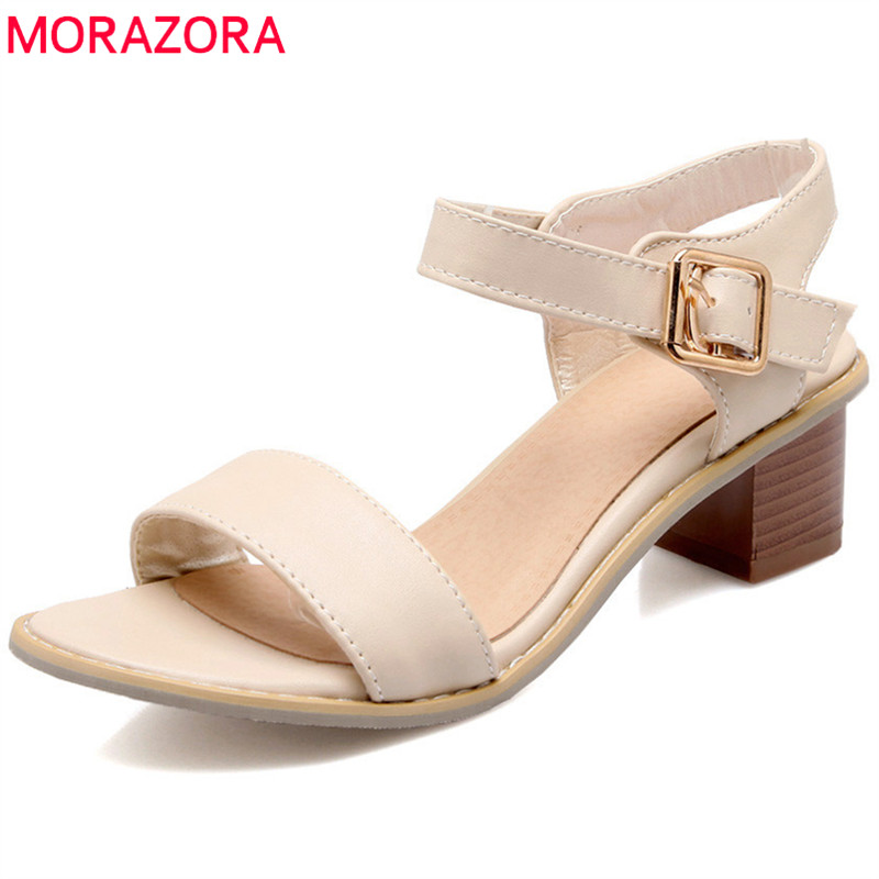MORAZORA 2018 new arrival women sandals big size 33-47 simple buckle summer shoes solid casual comfortable square heel shoes memunia 2018 new arrive women summer sandals sweet bowknot casual shoes simple buckle comfortable square heele shoes woman