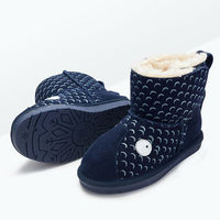 2016 NEW Cute Lovely Children Genuine Cow Leather Rubber Sole Soft Ankle Snow Boots Kids Girls