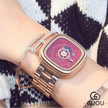 Ladies Watch GUOU Fashion Gold Steel Band Waterproof hour Women's watch Personality calendar Couple Men Women Gift Wrist watches