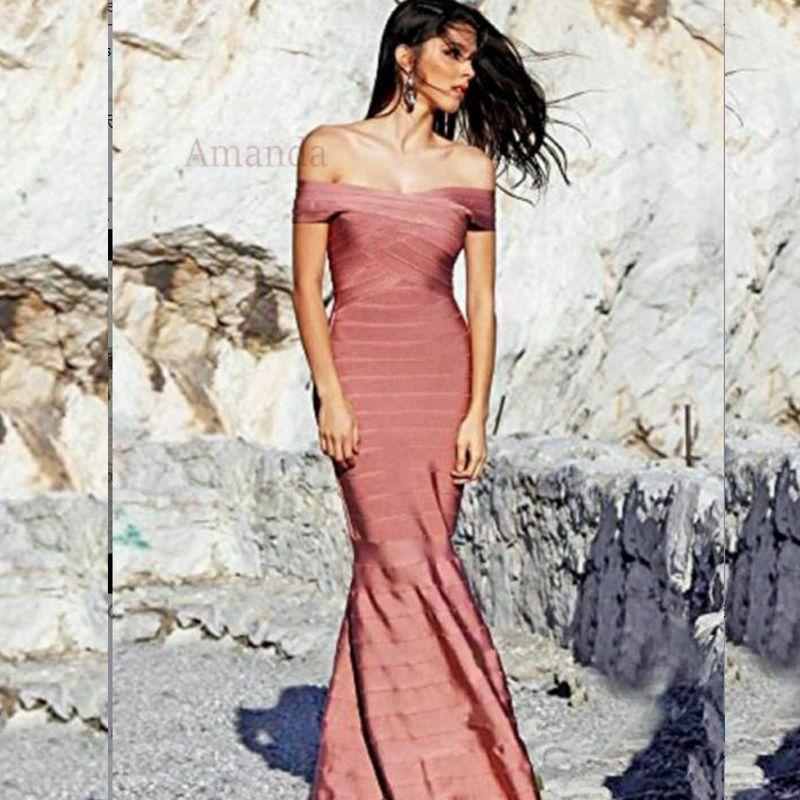 HL off shoulder summer dress elegant long maxi bandage dress mermaid evening special occasion celebrity gown women party dresses