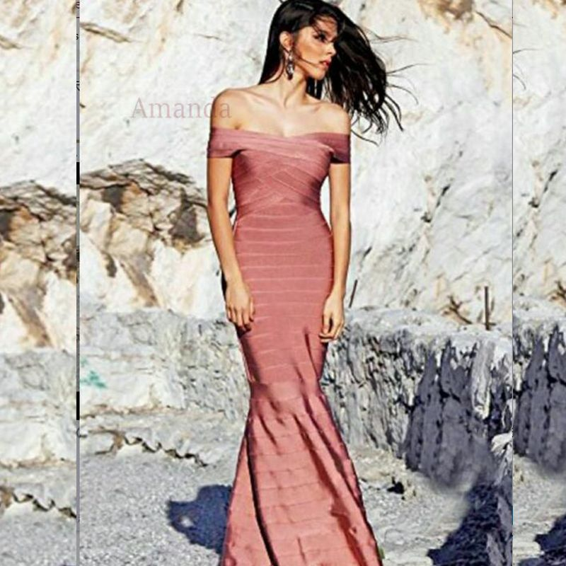 ✅Hl hombro verano vestido elegante Maxi largo del vestido del ...