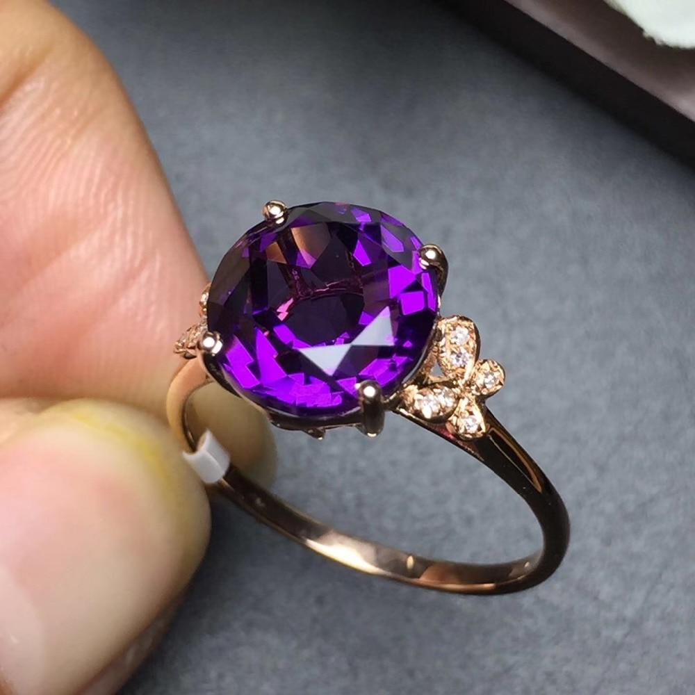 Image 4 - Ювелирные изделия Настоящее 18K золото AU750 100% натуральный аметистовый драгоченный камень женские кольца для женщинКольца    АлиЭкспресс