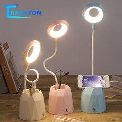 LED ładowane na USB lampa biurkowa przełącznik dotykowy ściemniająca lampa stołowa światła do czytania dla dzieci Student z uchwytem na telefon piórnik