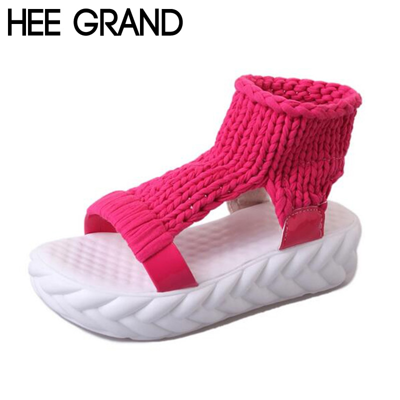 HEE GRAND Women Platform Sandals 2017 Soft Cotton Fabric Knitting Summer Gladiator Casual Slip on Peep Toe Women's Shoes XWZ3919 hee grand 2017 creepers summer platform gladiator sandals casual shoes woman slip on flats fashion silver women shoes xwz4074