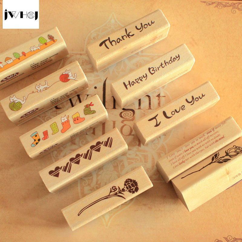 JWHCJ vintage strip wooden rubber stamp Kids DIY Handmade Scrapbook Photo Album, students Stamp Arts, Crafts gifts Free shipping jwhcj vintage cat date wood roller stamps for children diy handmade scrapbook photo album diary book decoration students stamps