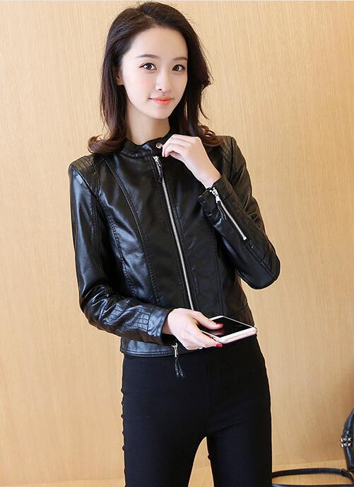 2018 Lika S-XL New Spring Fashion Bright Colors Good Quality Ladies Basic Street Women Short PU Leather Jacket