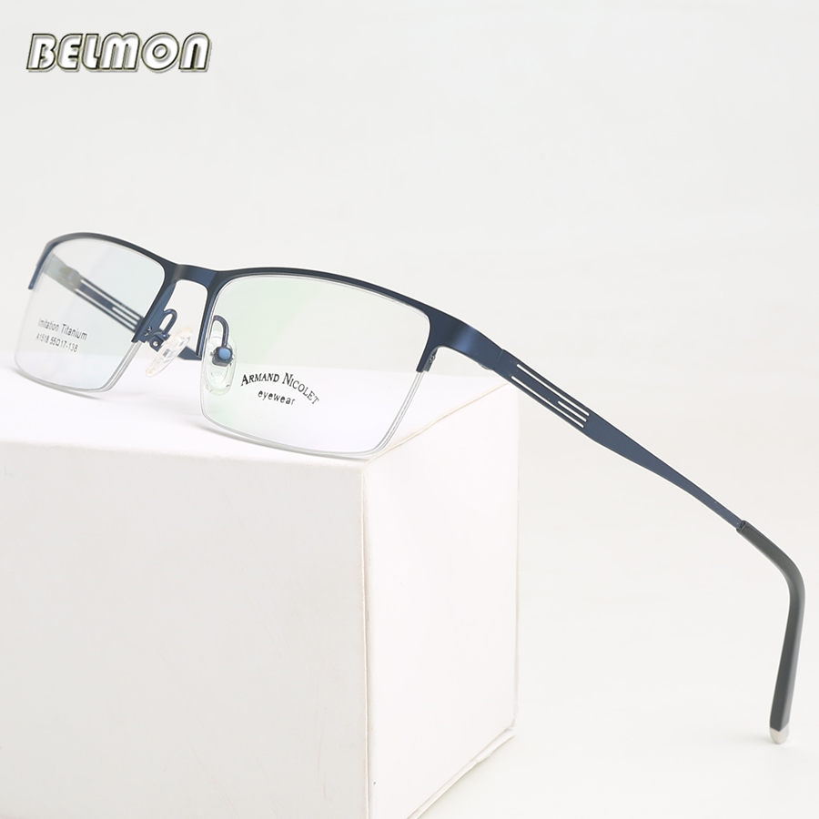 Spectacle Frame Eyeglasses Men Nerd Titanium Alloy Computer Optical Tag Brand Ögonglasögon För Manlig Transparent Clear Lens RS302