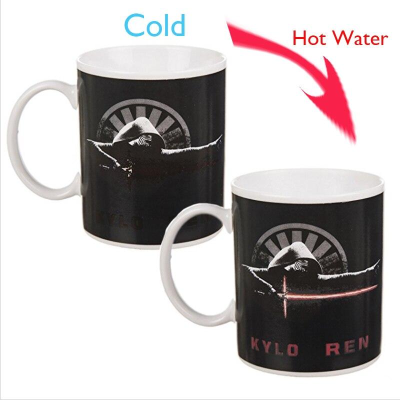 Drop shipping Star Wars Lightsaber Heat Reveal Color Change Mug Darth Vader Kylo Ren Cups Villain Black Warrior Creative Gift