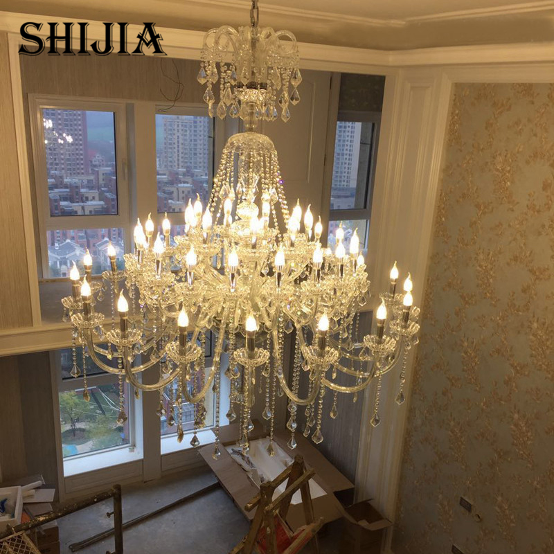 American Modern Crystal LED Long Chandelier Light Living Room Lamp Double Staircase HOTEL Lamp European Crystal Lamp Simple Bedr все цены