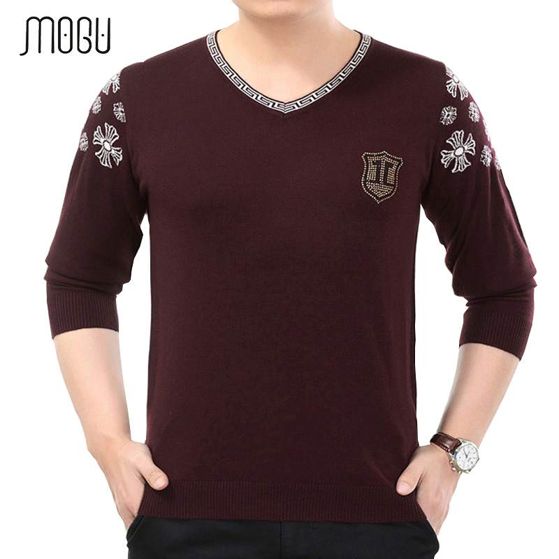 MOGU Mens Pure Color Sweater 2017 New Fashion Casual V-Neck Printed Sweater For Men Slim Fit Pullover Mens Wool Sweater