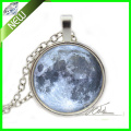 Silver Full Moon Necklace - Glass Photo Pendant - Blue Outer Space Jewelry Gift Women Nebula Necklace Ladies Girls Pendant