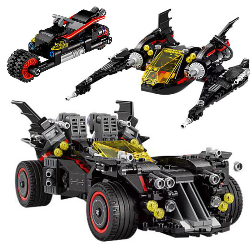 07077 1496Pc Batman Movie The Ultimate Batmobile Bat Motorcycle Fighter Building Blocks Bricks Toys 70917