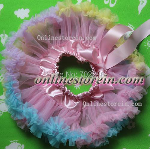 Arco iris de color rosa bebé pettiskirt del tutú de la gasa de regalo baby shower
