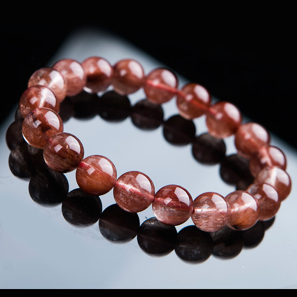 Newly Natural Red Hair Rutilated Quartz Round Beads Crystal Bracelet Women Men 10mm Clear Stone AAAAA Gift Bracelet Jewelry in Bracelets Bangles from Jewelry Accessories