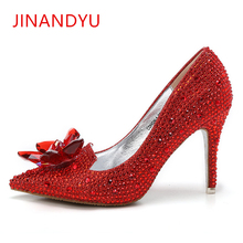 2019 Rhinestone High Heels Cinderella Party Shoes Women Pumps Pointed Toe Woman Crystal Bridal Wedding Shoes Zapatos Mujer цена