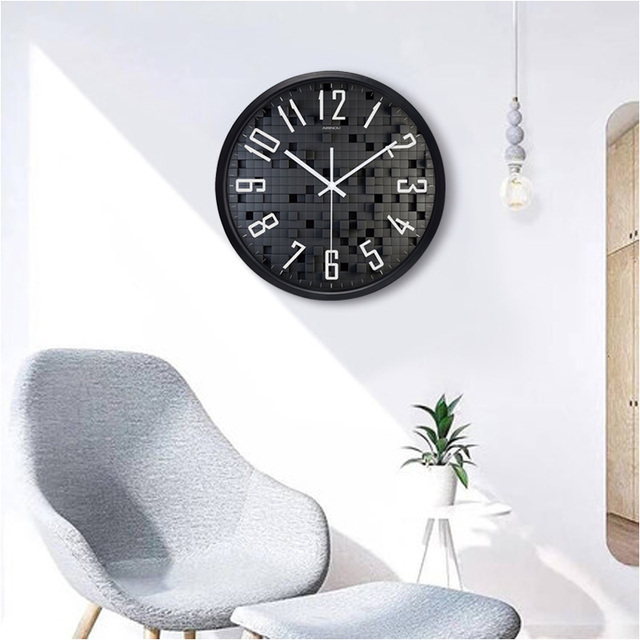Airinou New Design 3D Black Box Picture Living Room Wall Clock Home Decor Personalized Glass Silent