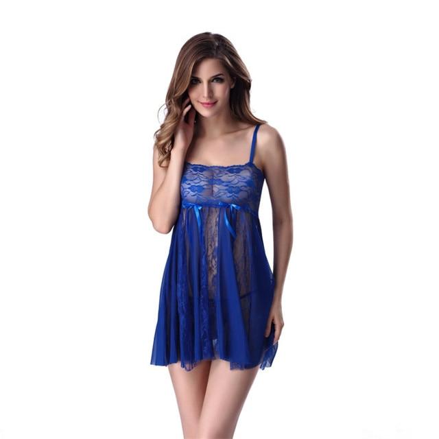 6c4385732 Hot Women s Sexy Sleepwear Night Dress Sexy Dress + G-String Nightdress  Short Nightgown Ladies vestidos de renda M- 2XL 3XL