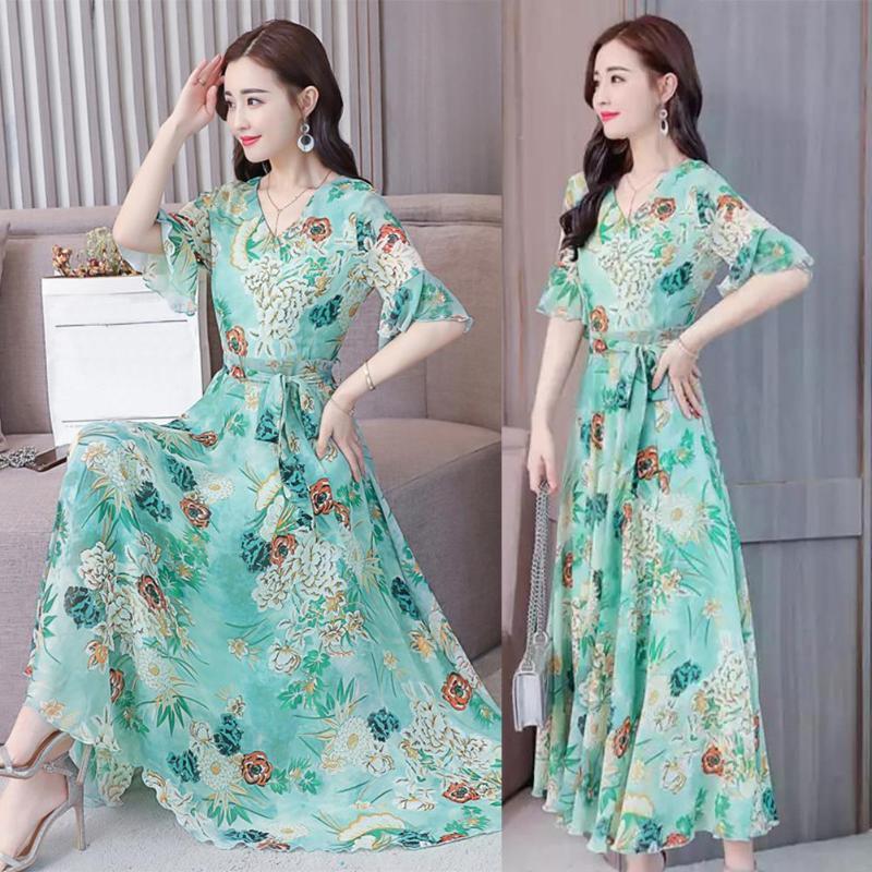 2019 Элегантный цветочный принт Maxi Women Summer V-образным вырезом с коротким рукавом Платья-пояса