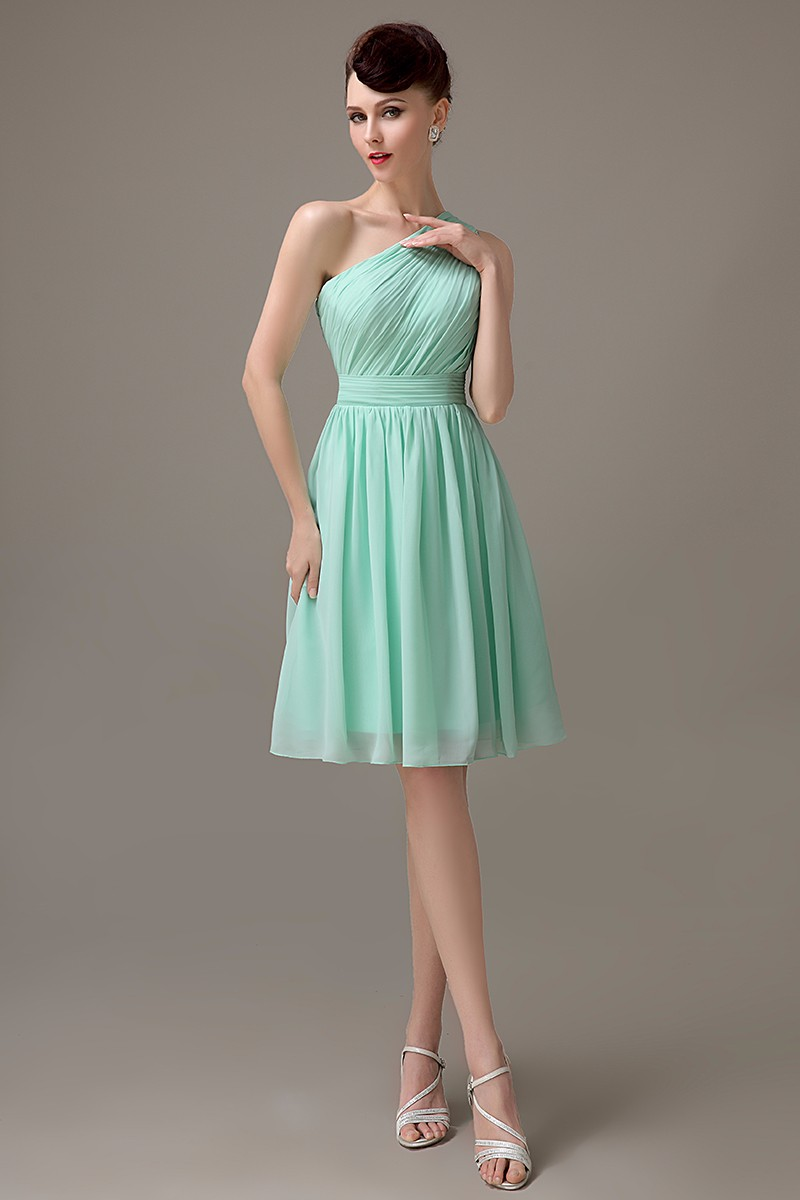 Aliexpress buy mint green chiffon one shoulder bridesmaid aliexpress buy mint green chiffon one shoulder bridesmaid dress 2017 simple junior bridesmaid dresses for girls cheap party gowns custom made from ombrellifo Choice Image