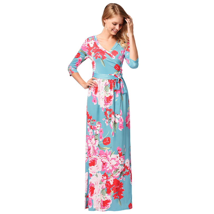5f1505f9745 Free Shipping! Newest Beautiful Graceful Colourful Flower Print Sexy V Neck  Lady Summer Dress-in Dresses from Women s Clothing   Accessories on ...