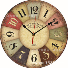 European style wooden watch clock factory wholesale fashion Home Furnishing electronic bell wood frame clock DIY