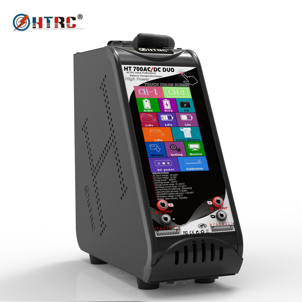 HTRC HT700 DUO AC/DC 350W*2 20A*2 Dual Port 4.3Touch Screen Vertical Balance Charger Discharger for 1-8s Lilon/LiPo Battery