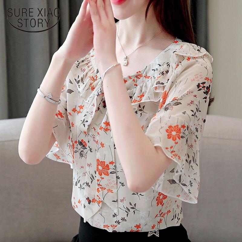 Fashion womens tops and   blouses   2019 harajuku chiffon   blouse     shirt   Bow Floral Flare Sleeve ladies tops off shoulder top 3632 50