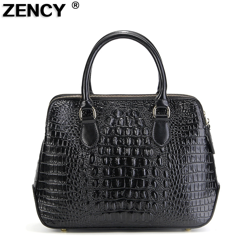 ZENCY Genuine Leather Luxury Famous Brand Fashion High Quality Crocodile Women s Handbag Ladies Tote Shopping
