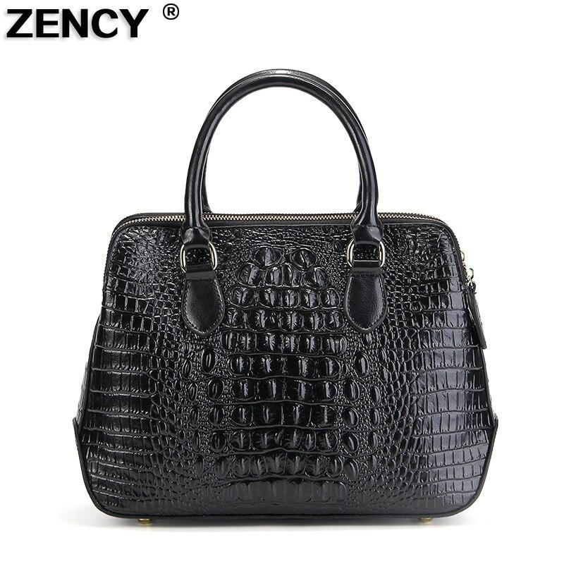 ZENCY cuero genuino de lujo famosa marca de moda de alta calidad de cocodrilo de mujer bolso de mano de las señoras bolso de compras bolso de la bolsa-in Cubos from Maletas y bolsas    1