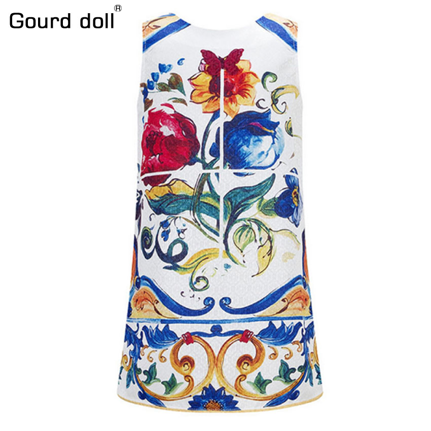 Girls Winter Dress 2016 Baby Girls Dresses Sleeveless Princess Dress Children Majolica Print Dobby Kids Dresses for Girls 2016 spring winter children baby kids girls stripe princess lace mesh dress girls fall sleeveless dresses kids dresses for girls