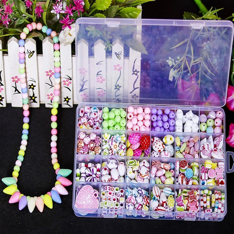 DIY Girl Gift Bracelet Kid Bead Kits Set Findings Jewelry Making Girls Mix Color Spacer Acrylic Beads With Fun Toys For Children